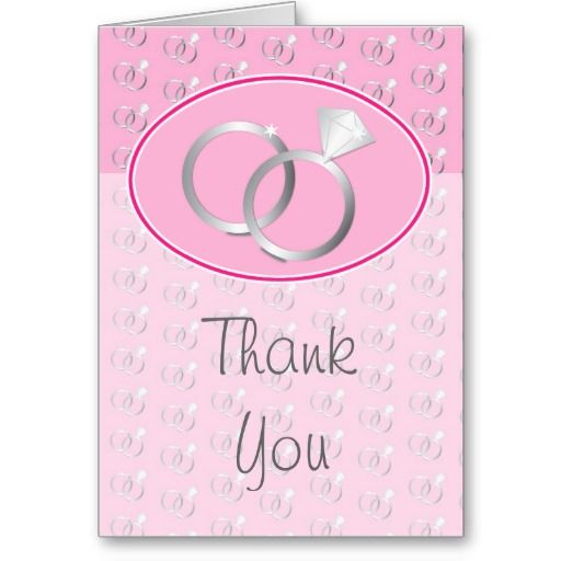 Pink Wedding Rings Thank You Card