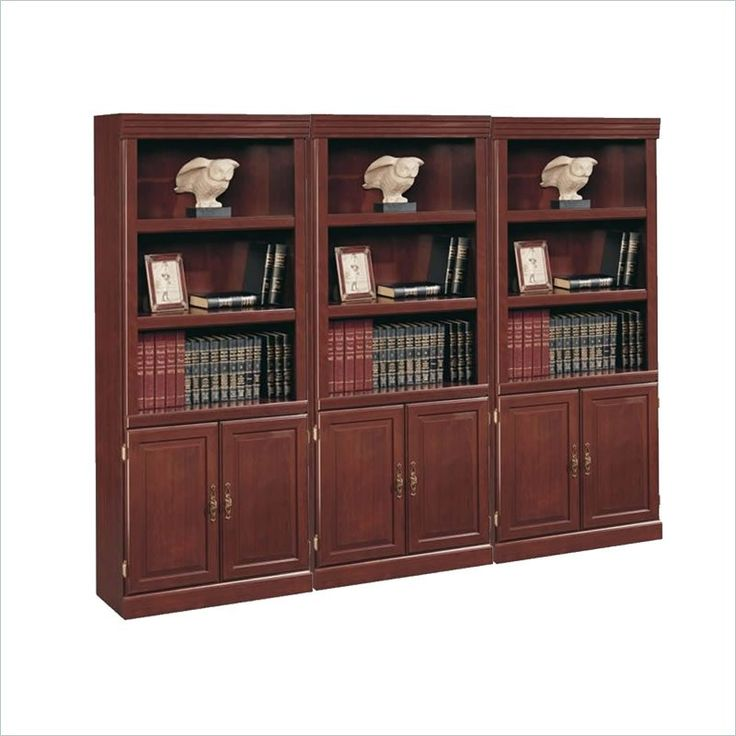 3 Shelves Wall Bookcase With Cabinet in