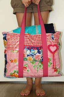 Strandtas van tafelzeil naaien: leuk idee