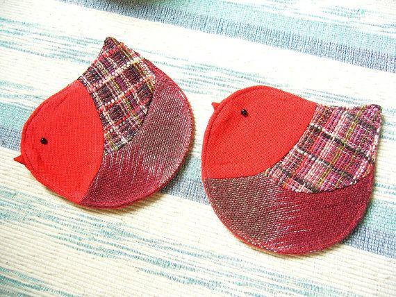 Handmade Bird Coaster, Fabric Coaster (Set of 2), Red Coaster, Red Bird - Etsy shop