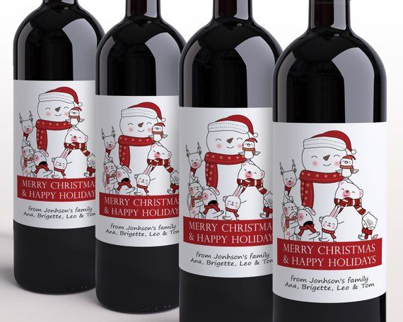 Christmas Wine Bottle Label Template Avery 22827 Happy Holidays Wine Label Template Christmas Wine Bottle Labels Wine Bottle Label Template Wine Label Template