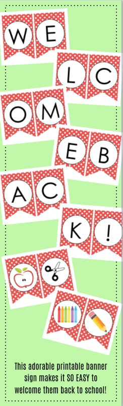 What a super sweet printable welcome back to school banner sign!  This would be an easy way to decorate the teacher's lounge or use as a backdrop for PTA / PTO back to school events!