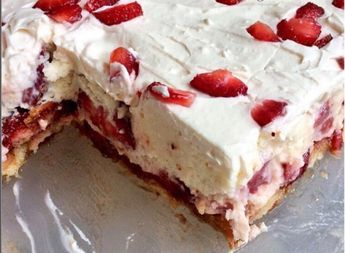 Eνα πανευκολο γλυκο ψυγειου με φραουλες για να φτιάξεις για το κυριακάτικο τραπέζι σας..εφόσον οι φραουλες ειναι στην εποχή τους τωρα να η ευκαιρια για να κανουμε ενα ωραιο και ευκολο γλυκο… ΣΥΣΤΑΤΙΚΑ: -1 φάκελο κρέμα ζαχαροπλαστικής