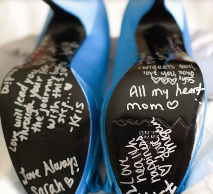 Writing on bottom of brides shoes