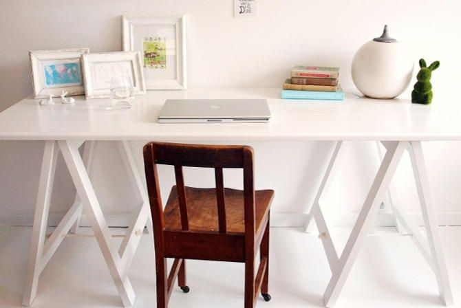 Milky White trestle table by Plank and Trestle - www.plankandtrestle.com.au
