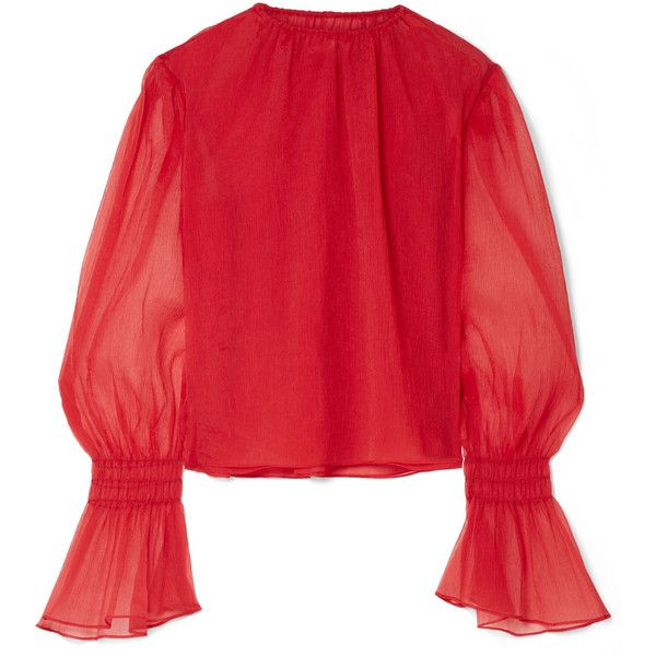 Beaufille Camarina plissé-chiffon blouse ($620) ❤ liked on Polyvore featuring tops, blouses, brick, chiffon layered top, red chiffon top, red chiffon blouse, chiffon blouses and layered tops