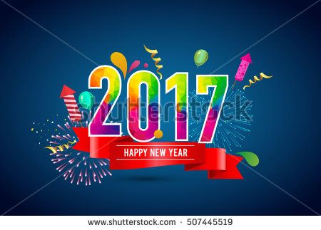 Happy New Year 2017 design colorful background with ribbon, balloon and fireworks. Calendar template vector elements for calendar and greeting card