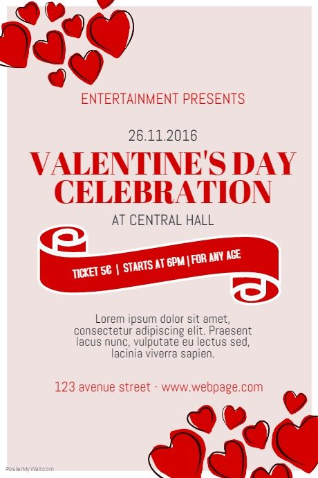 free valentines day event poster template for valentines postermywall - Valentines Posters