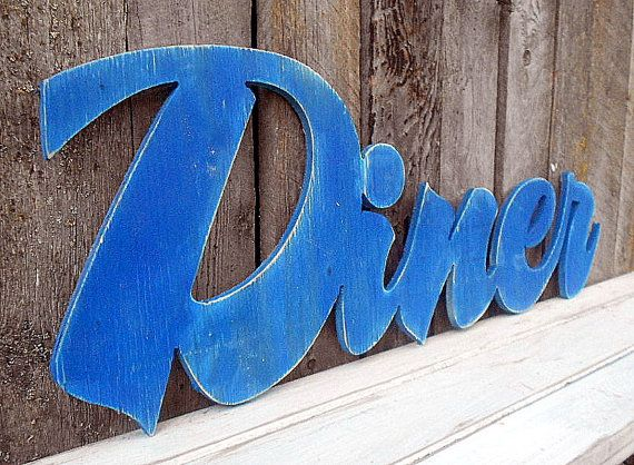 Large Wooden DINER Sign   Decoration Kitchen by AmericanaSigns, $48.00