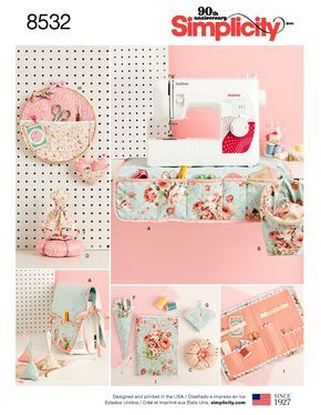 Sewing Room Accessories Pattern, Hand-Caddy-Schnittmuster, Scheren-Etui-Muster, Maschinen-Staubschutz, Einfachheit Schnittmuster 8532   – Sewing room