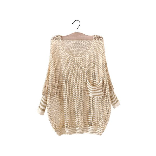 Beige Crochet Round Neck Hollow Out Batwing Jumper With Pocket Patch... ($15) ❤ liked on Polyvore featuring tops, sweaters, beige, beige top, crochet top, pink jumper, round neck sweater e patch sweater