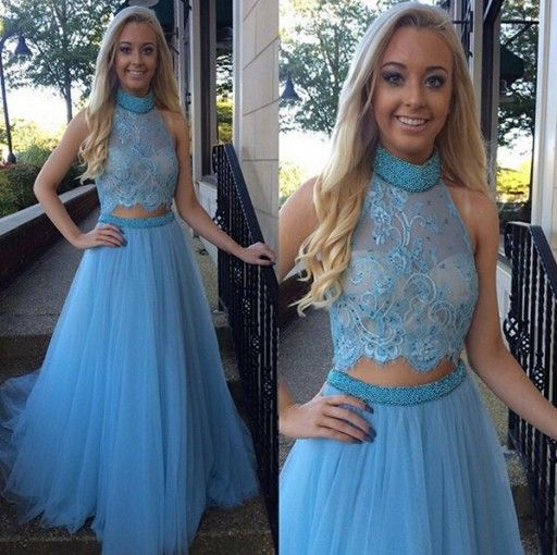2017 High-Neck Glamorous Two-Pieces Tulle A-Line Beadings Prom Dress
