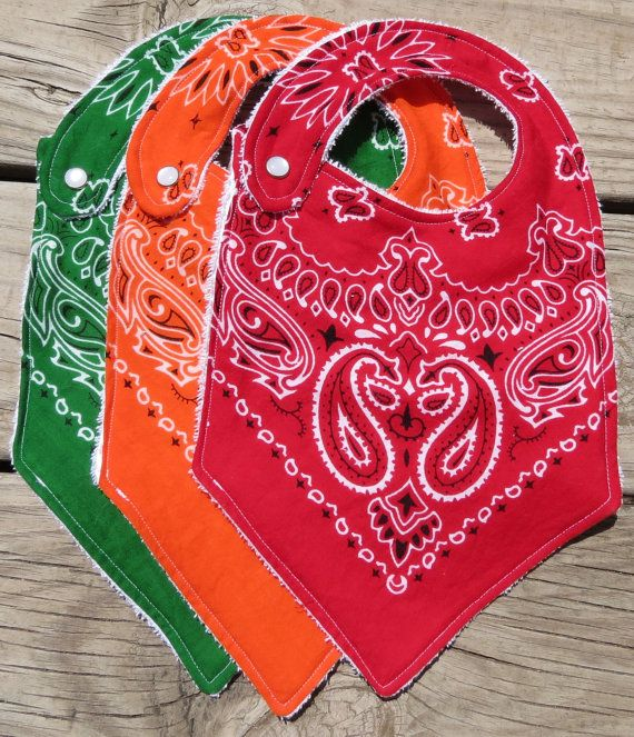Too cute!  Gender Neutral Western Bandana Baby Bibs - Set of Three. $20.00