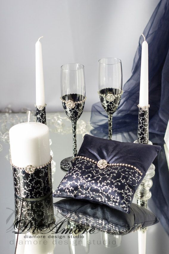 Navy & Silver lace-Wedding SET/Champagne от DiAmoreDS на Etsy