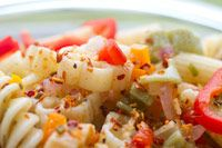 Recipe - Italian Dressing Pasta Salad    So easy to make just use Italian salad dressing and cook rottini noodles, add in the veggies of  your choice, it's so good!!