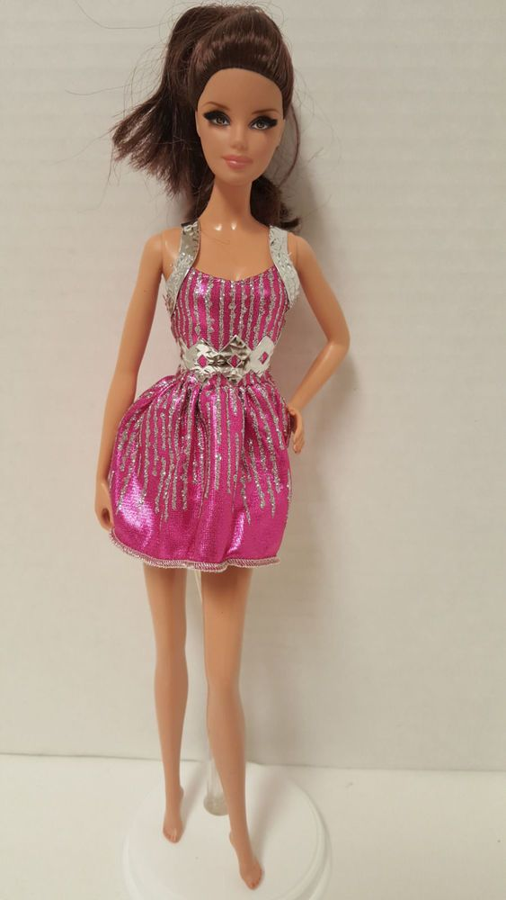 Barbie Fashion Glam Luxe Pink Metallic Party Dress Doll Clothing Clothes #Barbie