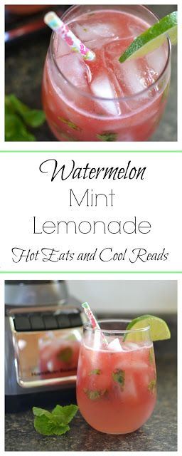 Fruity summertime drink! Perfect for picnics, BBQ's and play dates! So refreshing too! Watermelon Mint Lemonade Recipe from Hot Eats and Cool Reads! #HamiltonBeachBlenders