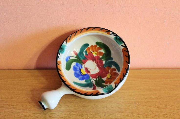 Antique Italian Majolica D'Abruzzo Pottery Ashtray Italy Ceramic Floral Hand Painted Bowl by Grandchildattic on Etsy