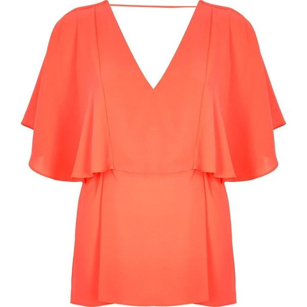 River Island Coral cape back V-neck t-shirt ($64) ❤ liked on Polyvore featuring tops, t-shirts, coral, women, red v neck tee, oversized tee, v-neck tee, deep v neck t shirts and red v neck t shirt