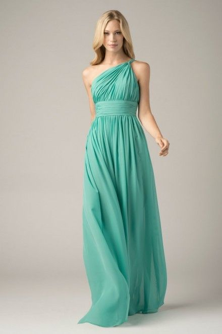 Newest New Arrival 2017  Custom Made Sleeveless One Shoulder Chiffon Mint Green Bridesmaid Dresses for Wedding