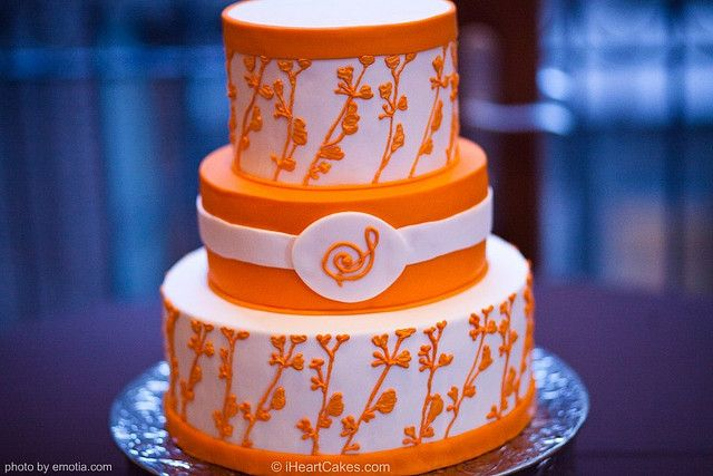 Orange and White Modern Wedding Cake - iHeartCakes by iHeartCakes - Gena, via Flickr