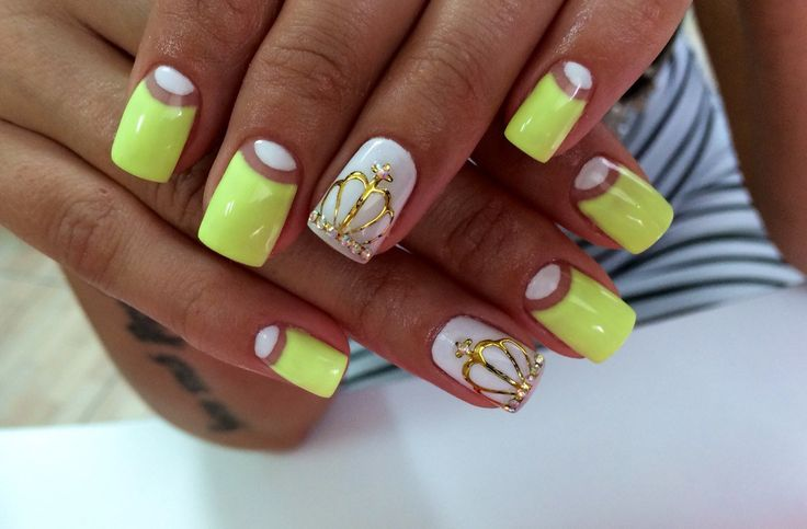 Beyonce nails, Bright gel polish, Crown nails, Fashion nails 2016, Half moon nails 2016, Half-moon nails ideas, Lemon nails, Manicure nail design