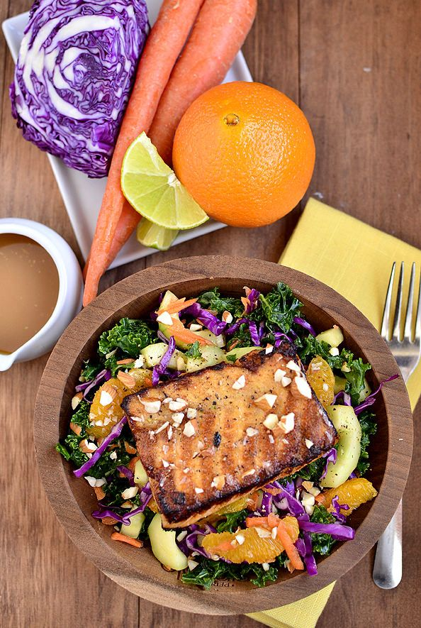 Asian Kale & Salmon Salad | iowagirleats.com Omit honey, use coconut ...