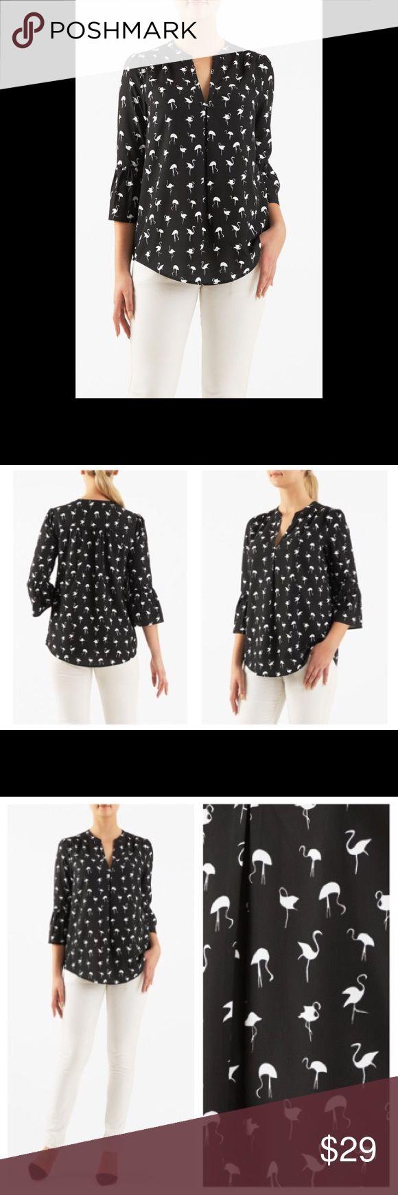 "New Eshakti Flamingo top blouse 18W New Eshakti flamingo top blouse 18W Measured flat: Underarm to underarm: 45"" Waist: 46"" Length: 29-33"" Sleeve: 14 1/2"" Eshakti size guide for 18W bust: 45"" banded split neck, bell sleeves, center pleat for relaxed silhouette. Shirttail hem, rushed pleat back yoke. Polyester, woven crepe, easy drape, no stretch, lightweight. Machine wash. New w/cut out Eshakti tag to prevent returning to Eshakti eshakti Tops Blouses"