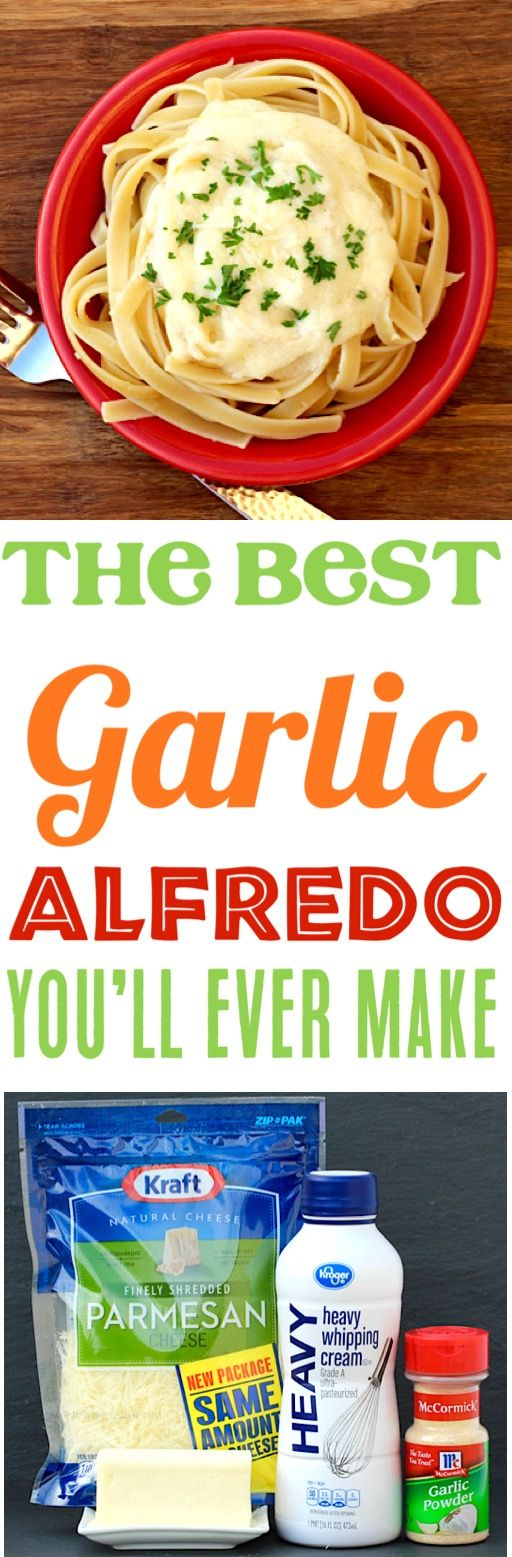 Alfredo Sauce Recipe | This Easy Homemade Garlic Alfredo is quick and simple to make and our family loves it even more than Olive Garden. Plus... just 5 Ingredients!  Give it a try this week!