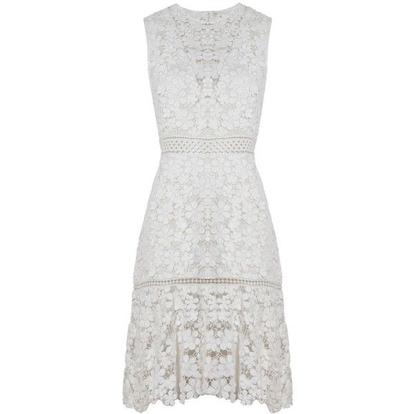 Sea NY 3D Crochet Sheath Dress (9.013.690 IDR) ❤ liked on Polyvore featuring dresses, floral dresses, white day dress, white dress, lace sheath dress and lacy white dress