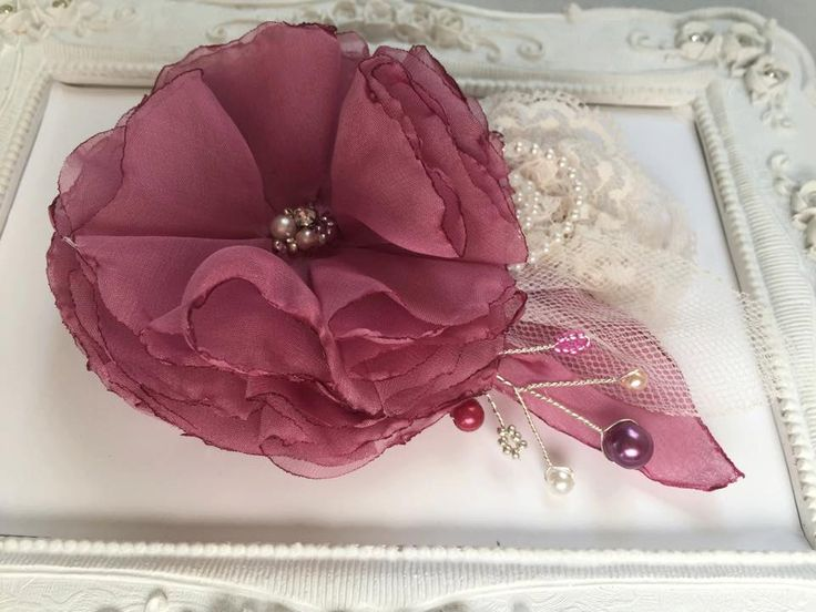 Bridal wedding hair accessories, flower headdress wedding pink / freesia / lilac Rose, lace, crystals, rhinestones and pearls by FleursProvence on Etsy