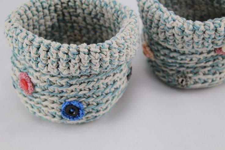 Two Handmade Crocheted Baskets