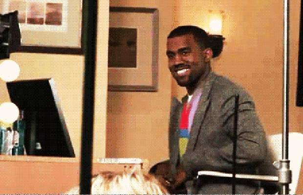 Kanye West sets his style apart by wearing rugby shirts and Louis Vuitton backpacks after dropping 2004's The College Dropout. — A History of Kanye West's Obsession With Fashion in Kanye West GIFs   Complex