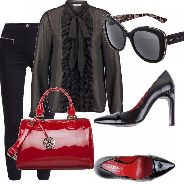 Nero e rosso un pò come i colori del poker, ho scelto per voi una blusa particolare nera, volendo c'è anche bianca, dei pantaloni slim, le decolletè ricordano vagamente una suola rossa ;) ma sono cheap. La borsa? Laccata e rossa, super femmnile!