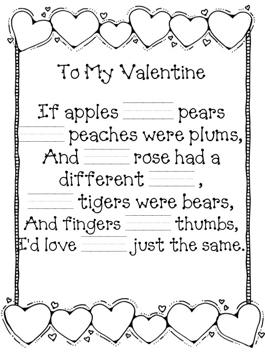 valentine poems math terms