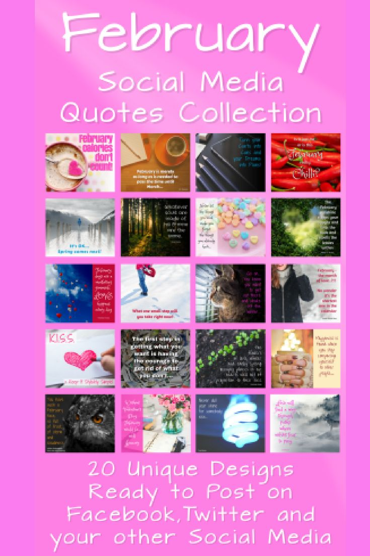You'll love our images…a package of 20 ready-made images complete with quotes themed around February or buy them individually from The Collection for 75p each or buy all 20 of them for only £9.50! You can use them on any of your social media accounts either just as they are or add your logo and/or website address to personalise them. royalty and copyright free. https://beyourowngraphicdesigner.com/february-social-media-quotes/