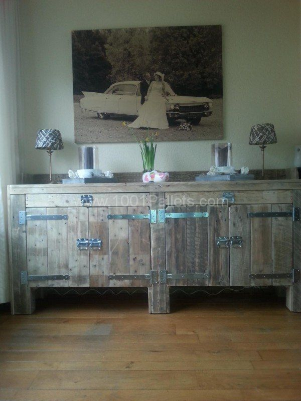 A dresser made of old and recycled euro pallets