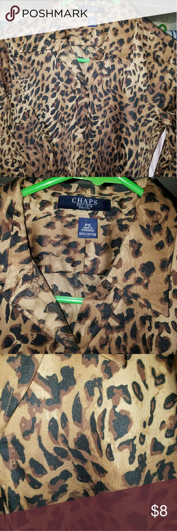 Cheetah print botton down Chaps cheetah print shirt Chaps Tops Button Down Shirts