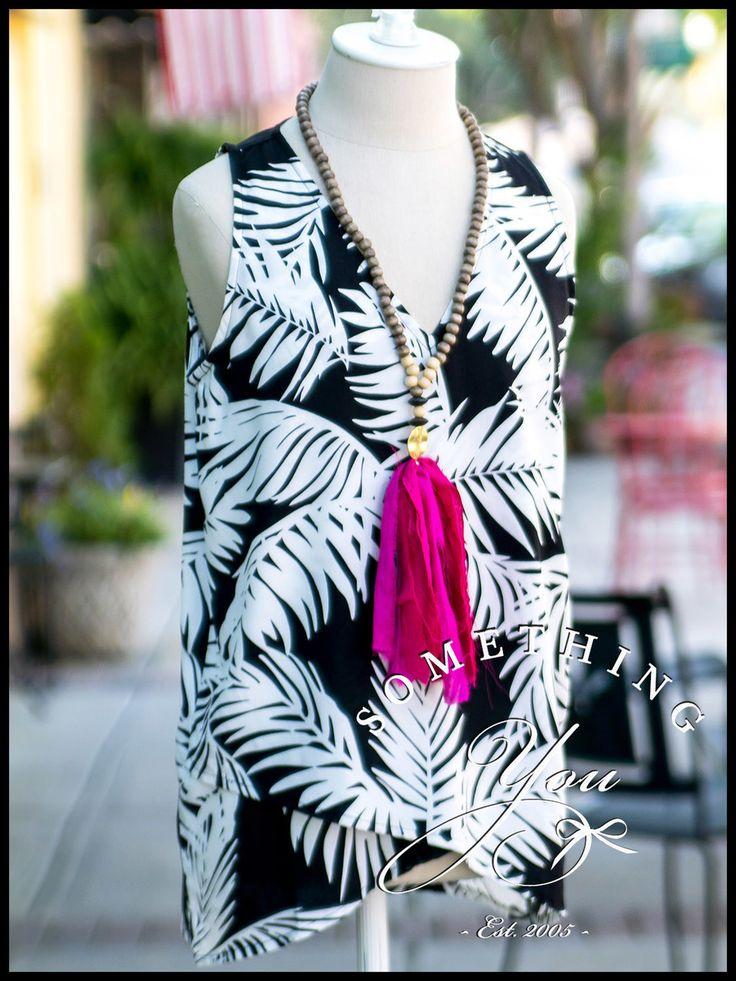 Something You - Escapada Sleeveless Eleanor Top T171 - Black and White Tropics - Summer 2017, $62.00 (http://www.somethingyou.com/new/escapada-sleeveless-eleanor-top-t171-black-and-white-tropics-summer-2017/)