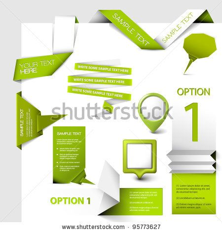 Set of green Vector web elements - stock vector