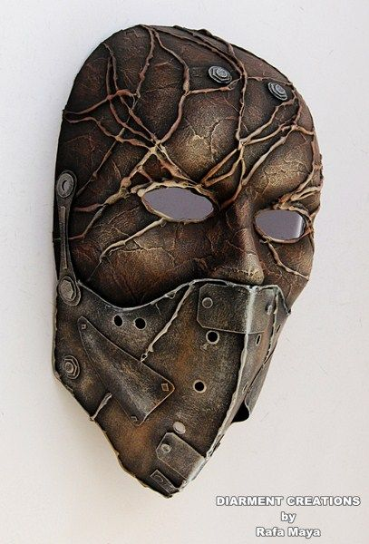 Earthy & Metal Steampunk Full Mask Size: full face. Processed manually, and hand painted Materials: plastic mask, cardboard, paper, glue and paint. More pictures and available on Etsy: