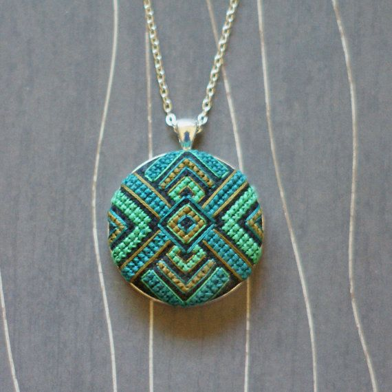 Zelda Cross Stitch Necklace/ Pendant silver by TheWerkShoppe