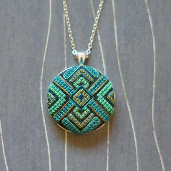Zelda Cross Stitch Necklace/ Pendant silver by TheWerkShoppe, $44.00