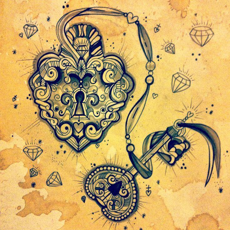 Padlock and key tattoo design