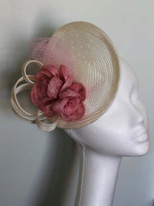 Pink Flower and Ivory Curly Straw Saucer Fascinator Hat. $160.00, via Etsy.