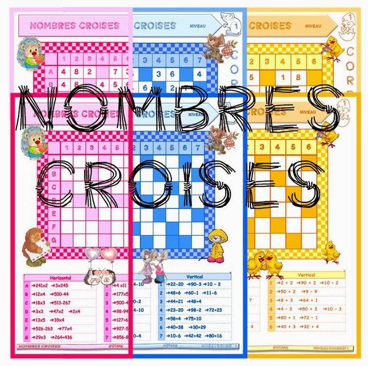 """IPOTÂME ....TÂME: CP / CE1/ CE2 : jeu maths """"les nombres croisés"""""""