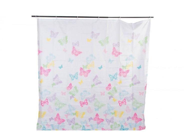 #cortina p[ara #ducha con #mariposas https://www.catayhome.es/categoria/cortinas-de-bano/