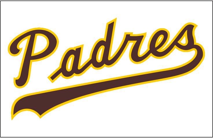 San Diego Padres Jersey Logo (1974) - Padres scripted in brown and yellow on a white jersey, worn on Padres home uniform from 1974 through 1977