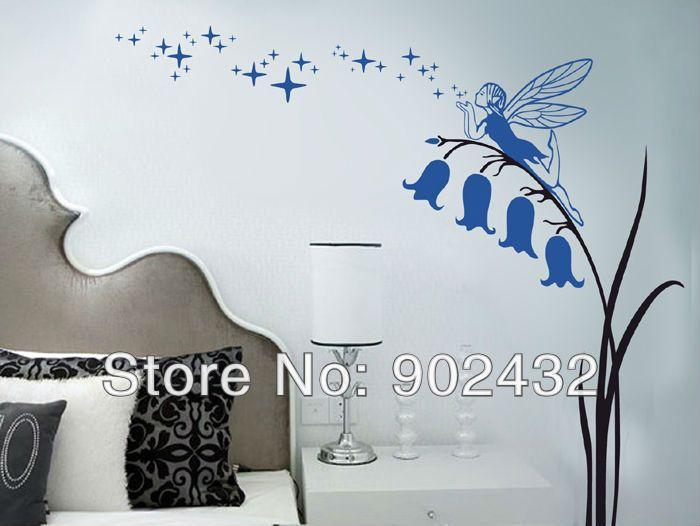 Pegatinas de pared Flor de hadas y estrellas tatuajes de pared decoración casera JM8306(China (Mainland))