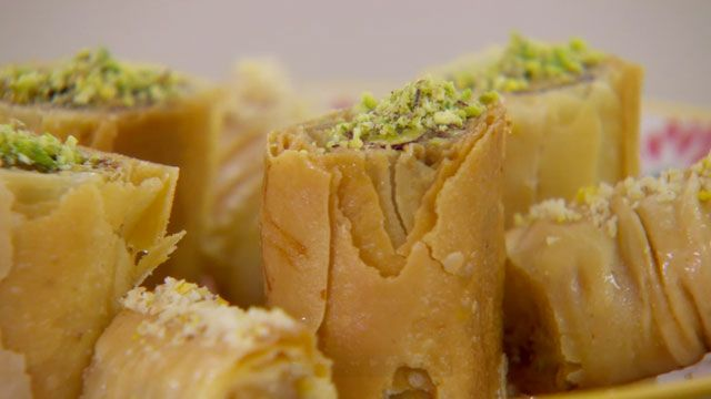 This Baklava recipe with rose and pistachio is featured in The Great British Baking Show airing on PBS. Get Richard's recipe at PBS Food.